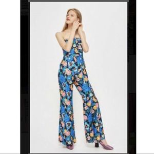 Eye catching Blue Multi floral Strapless Jumpsuit